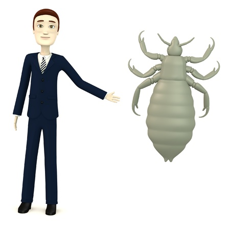 lice: 3d render of cartoon character with louse