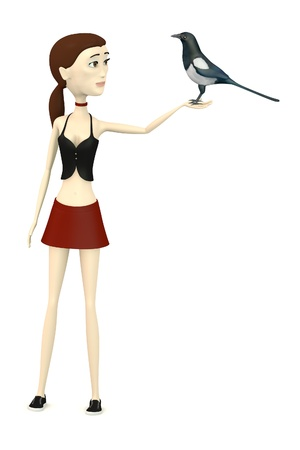 magpie: 3d render of cartoon character with magpie