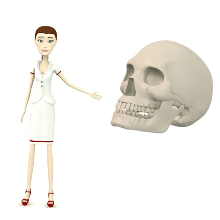 3d render of cartoon character with skull photo