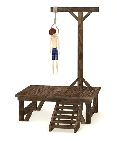 execution: 3d render of cartoon character hanged