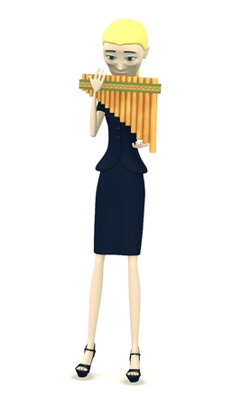 3d render of cartoon character with pan flute photo