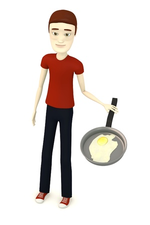 3d render of cartoon character with egg in pan photo