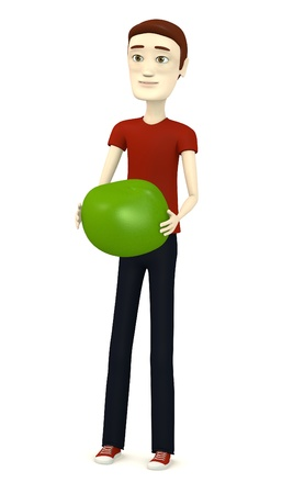 3d render of cartoon character with pea photo