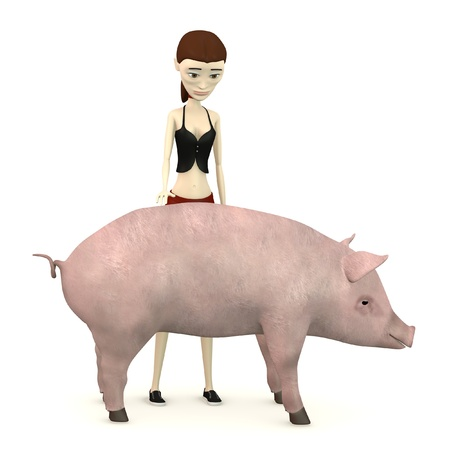 3d render of cartoon character with pig as a pet Stock Photo