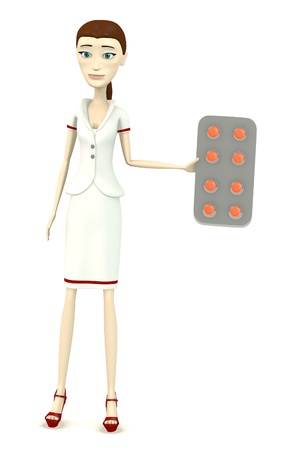 3d render of cartoon character with pills photo