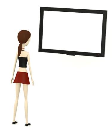 plasma screen: 3d render of cartoon character with plasma screen