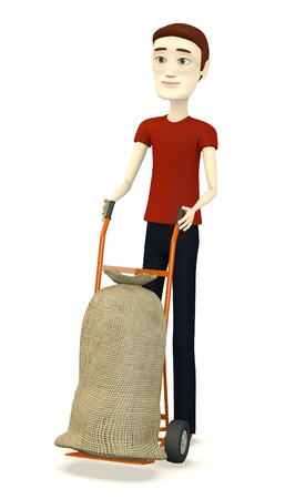 sack truck: 3d render of cartoon character with little truck with sack