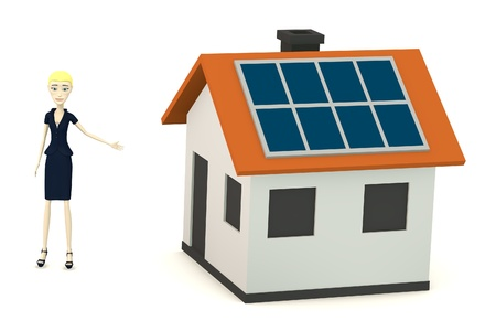 3d render of cartoon character with solar house photo
