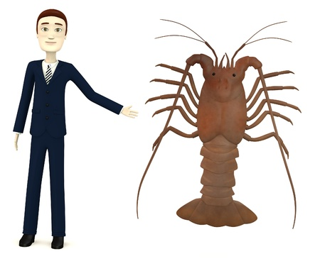 3d render of cartoon character with spiny lobster photo