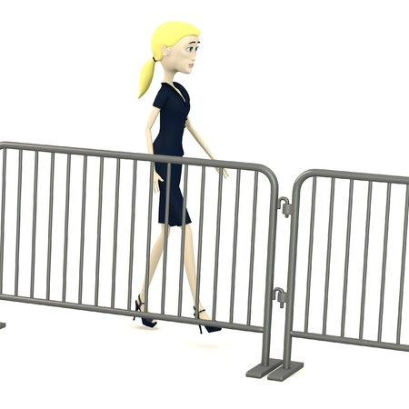 3d render of cartoon character with barriers Stock Photo - 19613032