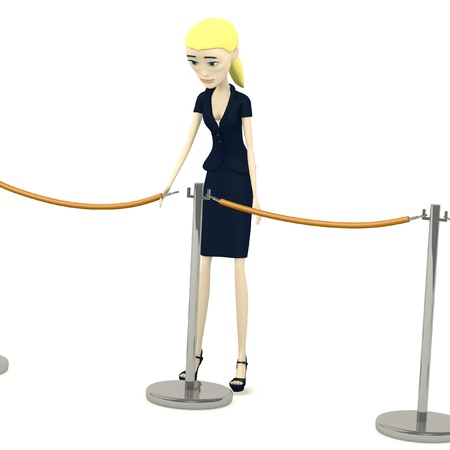 3d render of cartoon character with barriers Stock Photo - 19612909