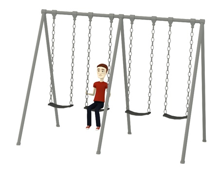 3d render of cartoon character in swing photo