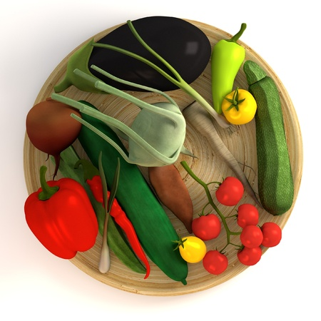 3d render of vegetable collection on plate photo