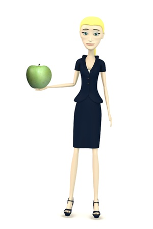 figourine: 3d render of cartoon character with apple