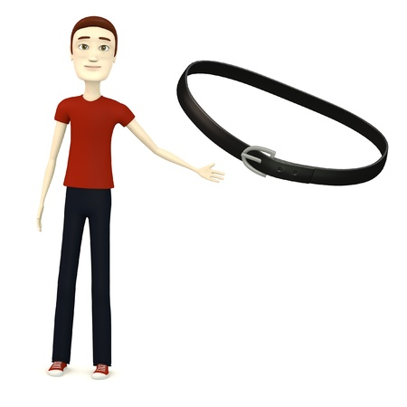 leather pants: 3d render of cartoon character with belt