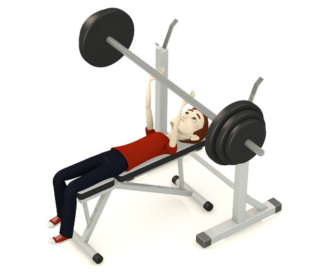 3d render of cartoon character with benchpress