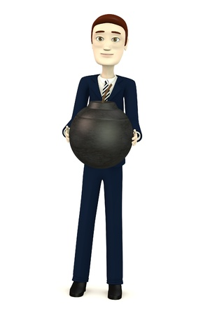 3d render of cartoon businessman with bomb photo