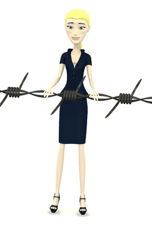3d render of cartoon character with barbed wire Stock Photo - 19635017