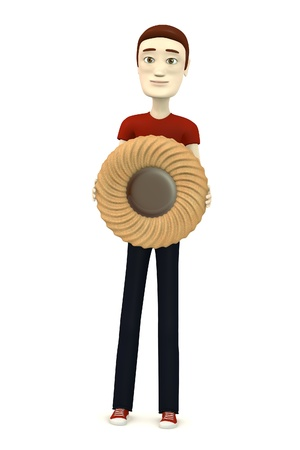 3d image of cartoon character with biscuit photo