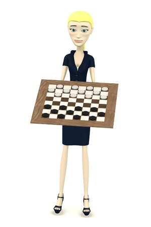 3d render of cartoon character with checkers Stock Photo - 19646965
