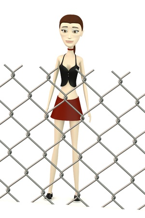 3d render of cartoon character behind fence Stock Photo - 19647495