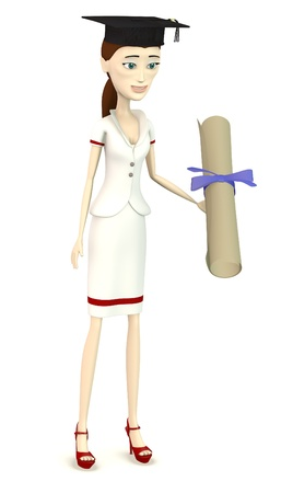3d render of cartoon character with graduation cap and diploma photo