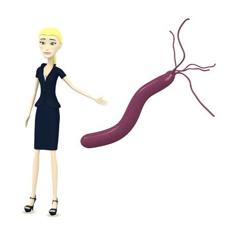 pylori: 3d render of cartoon character with helicobacter pylori