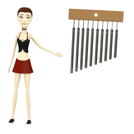 3d render of cartooon character with wind chimes photo
