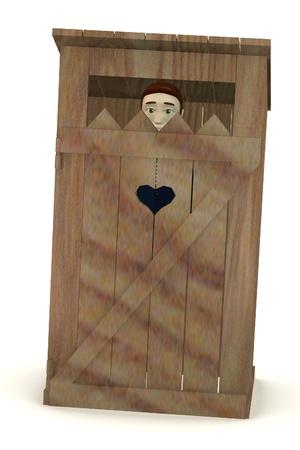 latrine: 3d render of cartoon character in latrine Stock Photo