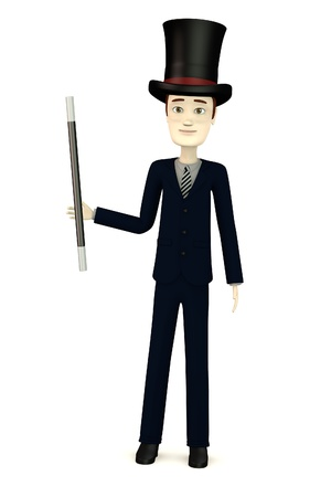 3d render of cartoon character as magician photo