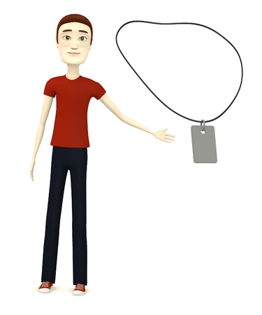 dogtag: 3d render of cartoon character with necklace