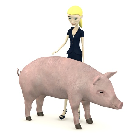 3d render of cartoon character with pig as a pet photo