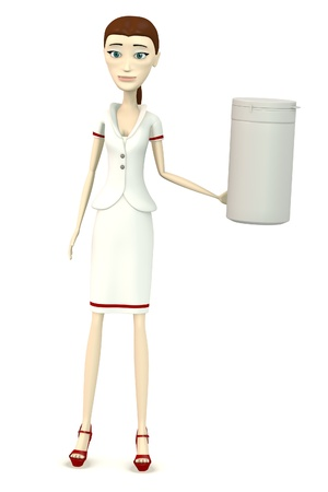 3d render of cartoon character with pillbox photo