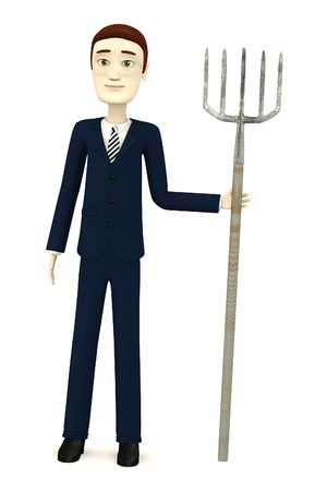 3d render of cartoon character with pitchfork Stock Photo