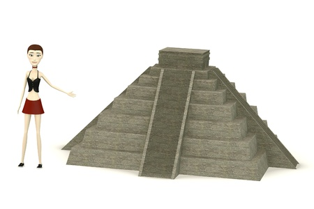 civilisation: 3d render of cartoon characer with pyramide Stock Photo