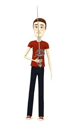 rapier: 3d render of cartoon character with rapier