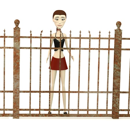 3d render of cartoon character with fence Stock Photo - 19703634