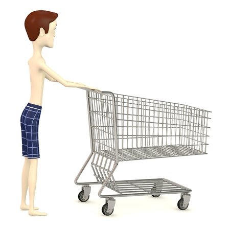 3d render of cartoon character with shopping cart