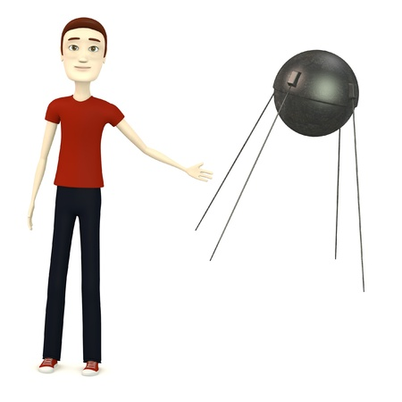 sputnik: 3d render of cartoon character with sputnik Stock Photo