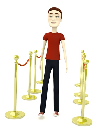 3d render of cartoon character with barriers Stock Photo - 19703684