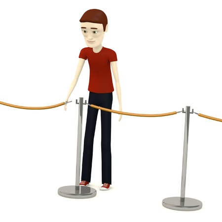 3d render of cartoon character with barriers Stock Photo - 19703759
