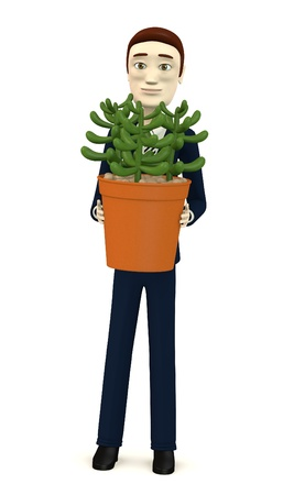 figourine: 3d render of cartoon character with succulent plant Stock Photo