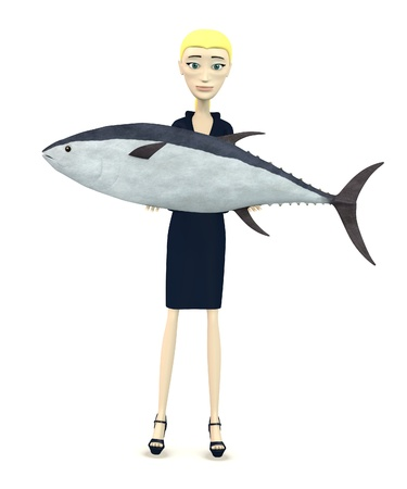 3d render of cartoon character with tuna fish Stock Photo - 19721749