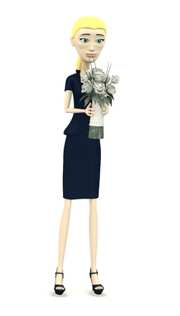 3d render of cartoon character with wedding flower photo
