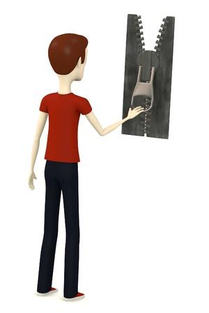 3d render of cartoon character with zipper photo