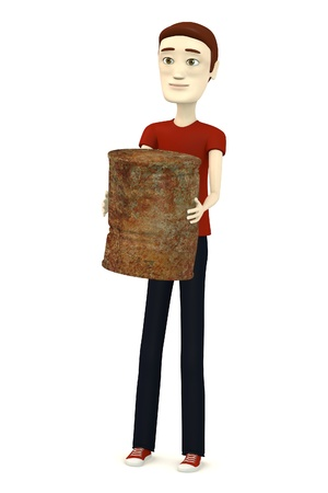 3d render of cartoon character with rusty can photo