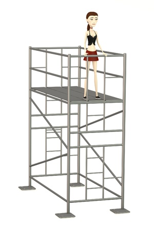 scaffold: 3d render of cartoon character with scaffold