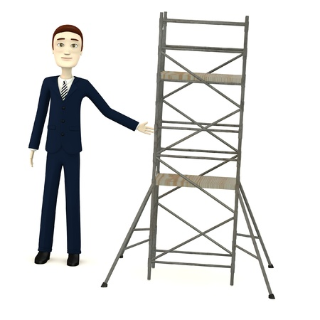 3d render of cartoon character with scaffolding photo