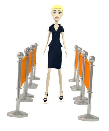 3d render of cartoon character with barriers Stock Photo - 19729103