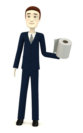3d render of cartoon character with toilet paper photo